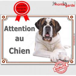 """St-Bernard, plaque portail """"Attention au Chien"""" 24 cm LUXE C"""