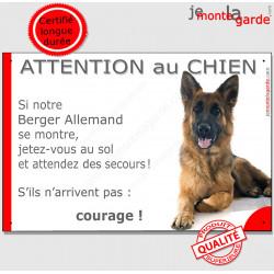 """Berger Allemand poils mi-longs, plaque humour """"Attention au Chien, Jetez Vous au Sol, courage"""" pancarte panneau drôle photo"""