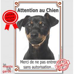 """Pinscher Noir et feu, Plaque Portail verticale """"Attention au Chien, interdit sans autorisation"""" pancarte panneau photo"""