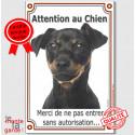 "Pinscher, plaque verticale ""Attention au Chien"" 24 cm VLC"