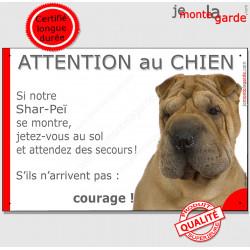 """Shar-Peï fauve marron, plaque humour """"Attention au Chien, Jetez Vous au Sol, courage"""" pancarte panneau drôle sharpei photo"""