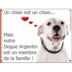Plaques 2 Tailles LOVE, Membre de la Famille, Dogue Argentin Gentil Tête