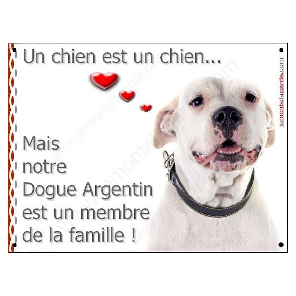 Dogue Argentin Gentil Tête, Plaque Portail un chien est un chien, membre de la famille, pancarte, affiche panneau