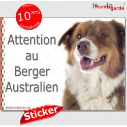 """Berger Australien tricolore rouge, panneau autocollant """"Attention au Chien"""" pancarte affiche photo Aussie sticker"""