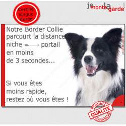 "Border Collie, plaque humour ""distance Niche - Portail"" 24 cm 3SEC"