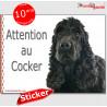 """Cocker noir, panneau autocollant """"Attention au Chien"""" 16 x 12 cm"""