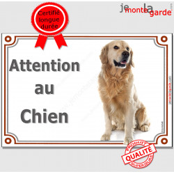 """Golden Retriever, plaque portail """"Attention au Chien"""" 24 cm LUXE C"""