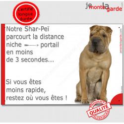 """Shar-Peï Fauve, plaque humour """"distance Niche - Portail"""" 24 cm 3SEC"""