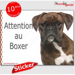 """Boxer bringé, panneau autocollant """"Attention au Chien"""" pancarte photo, sticker adhésif race"""