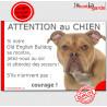"""Old English Bulldog, plaque humour """"Jetez Vous au Sol, Attention au Chien"""" 24 cm JET"""