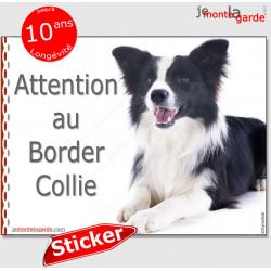 """Border Collie noir et blanc poils longs, panneau autocollant """"Attention au Chien"""" pancarte sticker adhésif photo"""