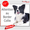 """Border Collie, autocollant """"Attention au Chien"""" 16 cm"""