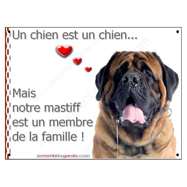 Mastiff Tête, Plaque Portail un chien est un chien, membre de la famille, pancarte, affiche panneau