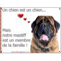 Plaque 16 cm LOVE, Membre de la Famille, Mastiff Tête