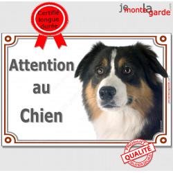 """Aussie tricolore, plaque """"Attention au Chien"""" 2 tailles LUX C"""