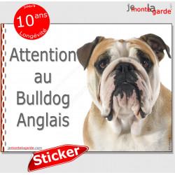 """Bulldog Anglais, autocollant """"Attention au Chien"""" 16 cm"""
