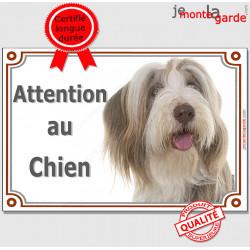 """Bearded Collie fauve beige et blanc, plaque portail """"Attention au Chien"""" pancarte panneau photo marron sable"""