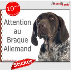 """Braque Allemand, panneau photo autocollant """"Attention au Chien"""" pancarte sticker adhésif"""