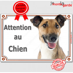 """Fox Terrier à poils lisse, plaque portail """"Attention au Chien"""" pancarte panneau photo affiche rue"""