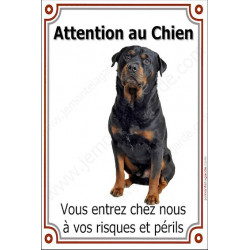 Plaque 24 cm LUXE, Attention au Chien, Rottweiler Assis
