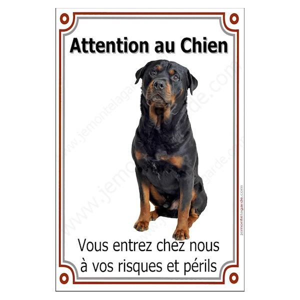 Rottweiler Tête, Plaque Portail Attention au Chien verticale, risques périls, pancarte, affiche panneau Rotweiler