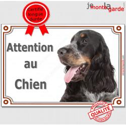 """Cocker Anglais Tricolore blanc, noir et feu, plaque portail """"Attention au Chien"""" panneau pancarte affiche photo"""