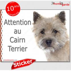 """Cairn Terrier, panneau autocollant """"Attention au Chien"""" Pancarte photo, sticker adhésif boite aux lettres, porte entrée, portail"""