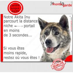 """Akita Inu Japonais bringé, plaque humour """"parcourt distance Niche - Portail 3 secondes"""" Pancarte photo drôle, Panneau marrant af"""