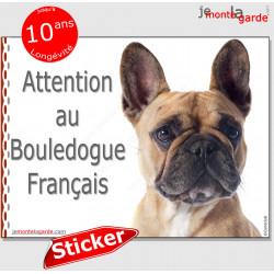 """Bouledogue Français, autocollant """"Attention au Chien"""" 16 cm"""