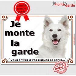 """Berger Blanc Suisse Tête, Plaque portail """"Je Monte la Garde, risques périls"""" panneau affiche pancarte attention au chien photo"""