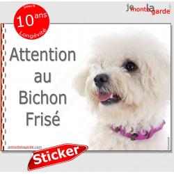 """Bichon Frisé, panneau autocollant """"Attention au Chien"""" pancarte sticker photo adhésif porte entrée boîte aux lettres"""