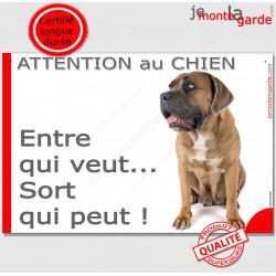 """Cane Corso Italiano fauve, plaque portail humour """"Attention au Chien, Entre qui veut..."""" pancarte photo drôle panneau marrant as"""