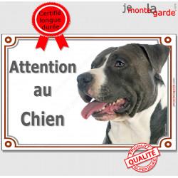 """American Staffordshire Terrier noir et blanc, plaque portail """"Attention au Chien"""" pancarte panneau photo Amstaff Staff"""