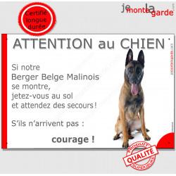 """Malinois, plaque humour """"Jetez Vous au Sol, Attention au Chien"""" 24 cm JET"""