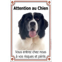Plaque 24 cm LUXE, Attention au Chien, Landseer Tête