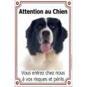 Plaque 24 cm LUXE, Attention au Chien, Landseer Tête
