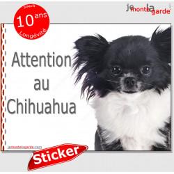 """Chihuahua bicolore noir et blanc à poils longs, panneau photo autocollant """"Attention au Chien"""" pancarte sticker porte entrée boi"""