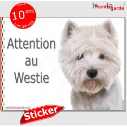"""Westie, panneau photo autocollant """"Attention au Chien"""" pancarte sticker adhésif race West Highland White Terrier blanc"""