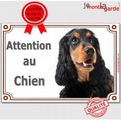 """Cocker Anglais noir et feu Tête, plaque portail """"Attention au Chien"""" pancarte panneau photo"""