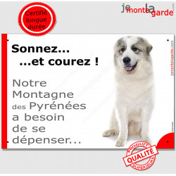 """Montagne des Pyrénées, plaque portail humour """"Sonnez et Courez !"""" pancarte photo Patou drôle Attention au Chien"""