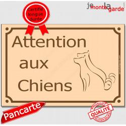 """Plaque Portail """"Attention aux Chiens"""" Rue Beige pluriel 24 cm"""