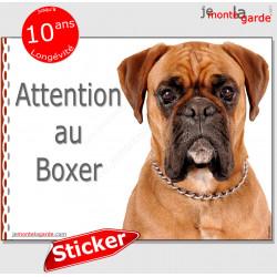 """Boxer fauve, autocollant """"Attention au Chien"""" 16 cm"""