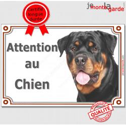 """Rottweiler, plaque portail """"Attention au Chien"""" 24 cm LUXE C"""