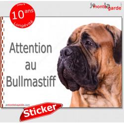 """Bullmastiff fauve, panneau photo autocollant """"Attention au Chien"""" Pancarte sticker adhésif"""