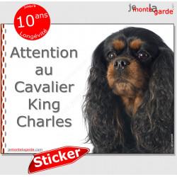 """Cavalier, autocollant """"Attention au Chien"""" 16 cm"""