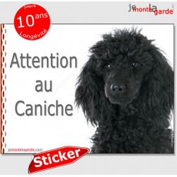 """Caniche tout noir, panneau photo autocollant """"Attention au Chien"""" Sticker race adhésif porte entrée, boîte aux lettres"""