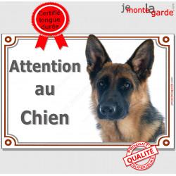 """Berger Allemand noir et feu à poils courts, plaque portail """"Attention au Chien"""" pancarte panneau photo Chien-Loup"""