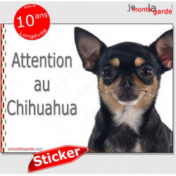 """Chihuahua noir et feu à poils courts, panneau photo autocollant """"Attention au Chien"""" Sticker adhésif porte portail entrée boite"""