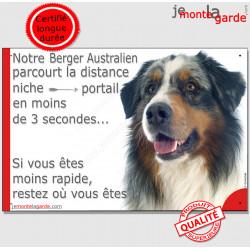 """Aussie Bleu Merle, plaque """"distance Niche - Portail"""" 24 cm 3SEC"""