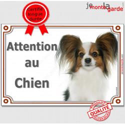 """Papillon, plaque portail """"Attention au Chien"""" 2 tailles LUX C"""